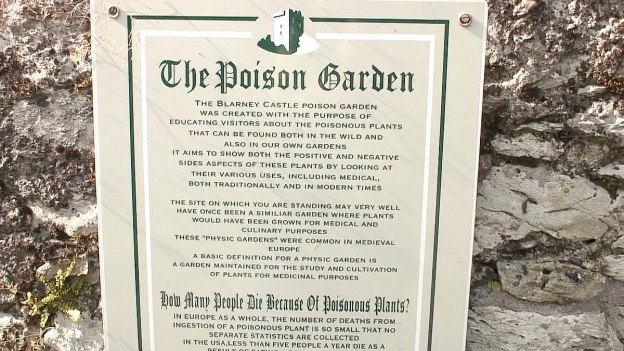 The Poison Garden entrance sign at Blarney Castle in County Cork, Ireland
