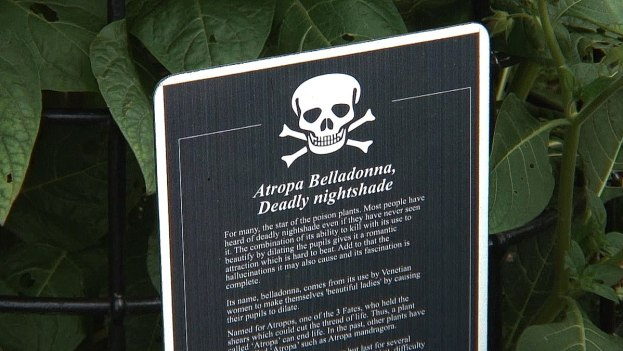 An image of the deadly nightshade skull and crossbones sign in the Poison Garden at Blarney Castle in Ireland. Photograph by Frame To Frame - Bob and Jean.