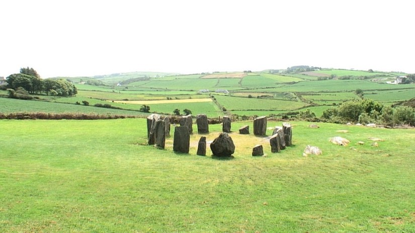 An image of the Drombeg Stone Circle standing in a country field near Glandore in County Cork in Ireland. Photography by Frame To Frame - Bob and Jean.