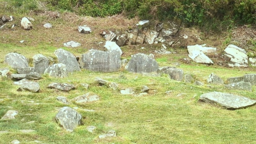 Prehistoric hut ruins near the Fulacht Fiadh at the Drombeg Stone Circle in County Cork, Ireland.