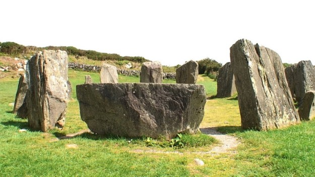 An image of the recumbent axial stone at the Drombeg Stone Circle near Glandore in County Cork in Ireland. Photography by Frame To Frame - Bob and Jean.