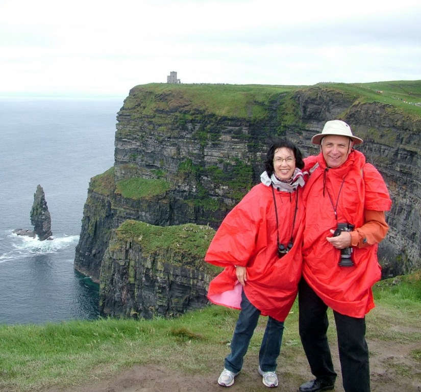 Jean and Bob at the Cliffs of Moher in County Clare, Ireland