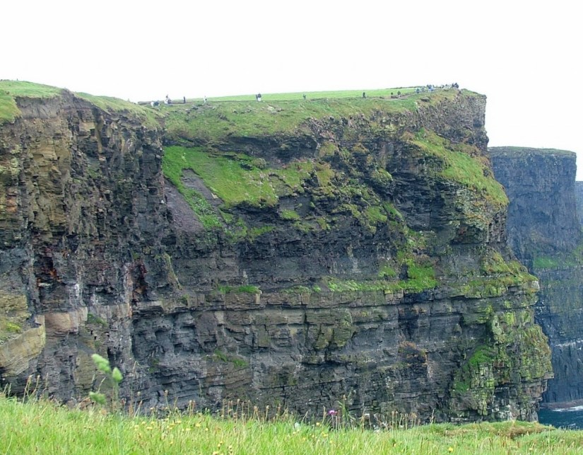 Cliffs and rock walls at the Cliffs of Moher in County Clare, Ireland