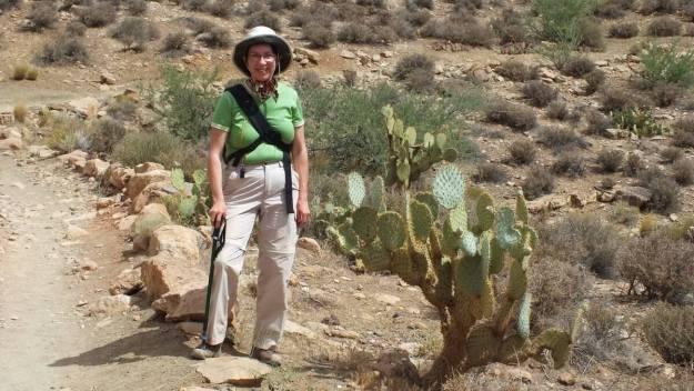 jean beside cactus plateau point trail 9a