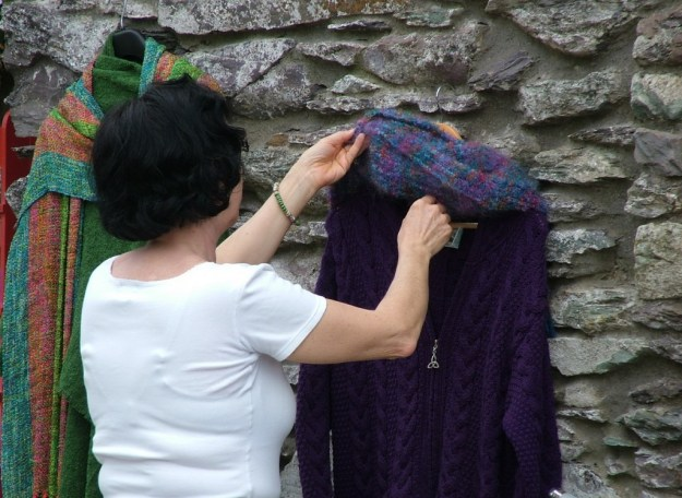 jean checks out the wool knitting, ireland 15b