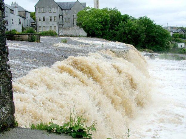 River waterfalls in downtown Ennistymon, County Clare, Ireland