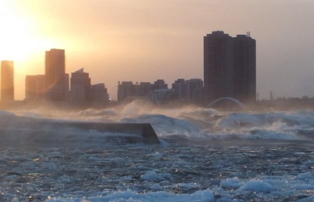 Icy waves breaking on Lake Ontario at Toronto, Ontario, Canada