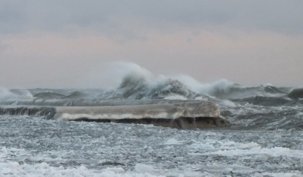Waves breaking on Lake Ontario at Sunnyside in Toronto, Ontario, Canada