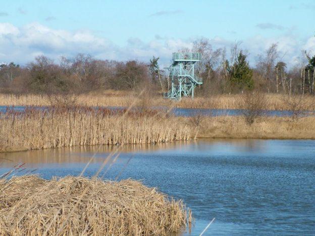 Bird observation tower at Reifel Migratory Bird Sanctuary in Delta, BC, Canada.