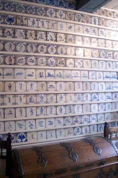 blue tiles in antique shop - delft - the netherlands