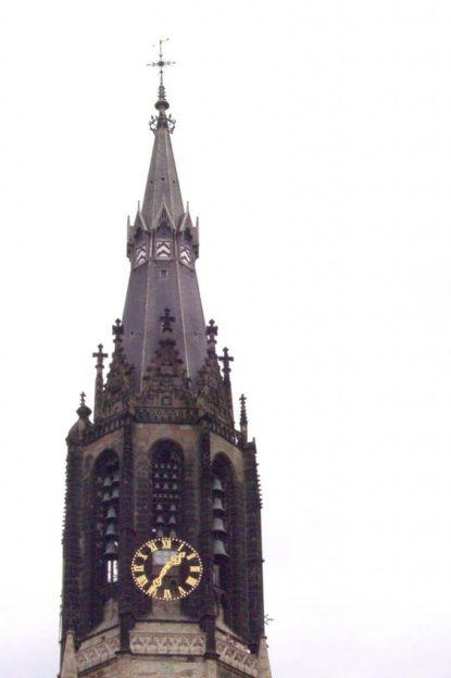 clock tower in Nieuwe Kerk - New Church - delft - the netherlands