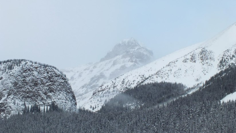 mountain tops in winter at Lake Louise - Alberta - frame to frame bob and jean