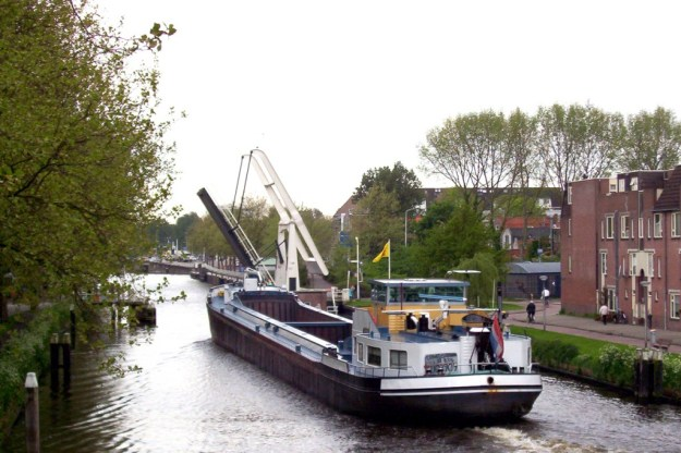 ship on canal - delft - the netherlands