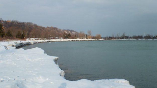 winter shoreline at bluffers park - toronto -ontario