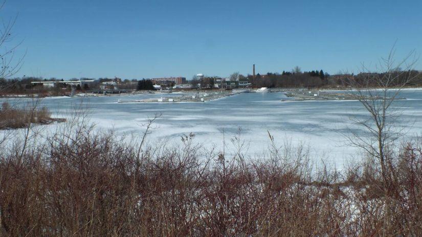 Frozen harbour at Colonel Samuel Smith Park in Etobicoke, Ontario, Canada