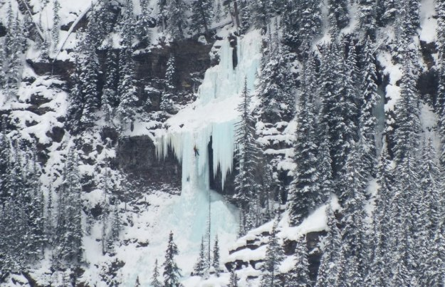 Ice climbing at Lake Louise in Banff National Park, Alberta, Canada