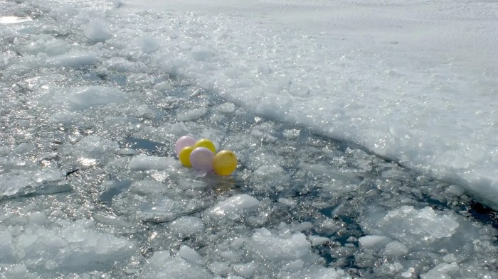 balloons on ice in toronto harbour