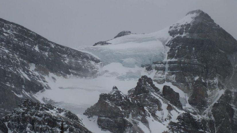Blue glacier on Mount Aberdeen in Banff National Park, in Alberta, Canada