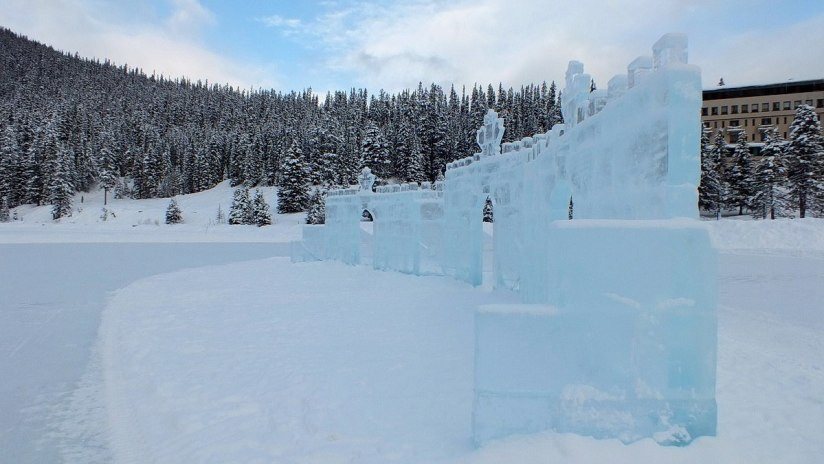 Ice Castle on the ice rink at Lake Louise in Banff National Park, Alberta, Canada