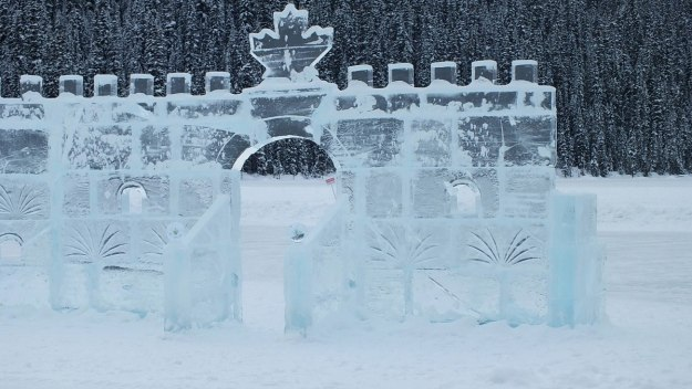Walls of the Ice Castle on Lake Louise in Banff National Park, Alberta, Canada