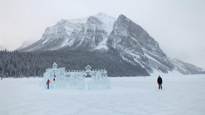 Mountains and the skating rink at Lake Louise in Banff National Park, Alberta, Canada