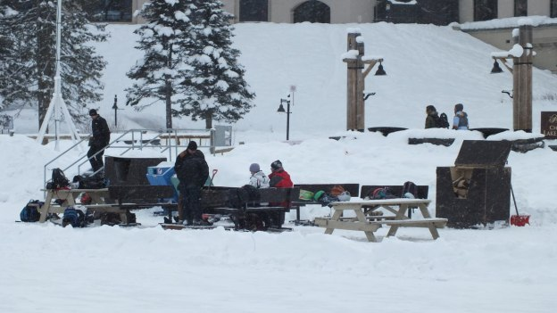 Fire pit at the ice skating rink at Lake Louise in Banff National Park, Alberta, Canada
