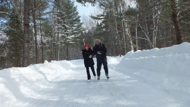 Jean and Bob on the ice skating trail at Arrowhead Provincial Park near Huntsville, Ontario, Canada