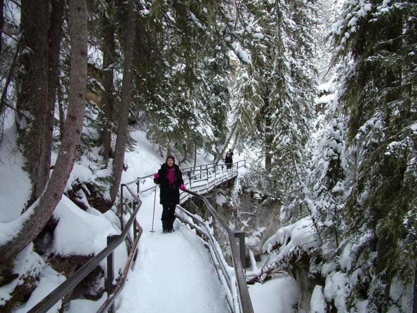 ice walking johnston canyon - banff
