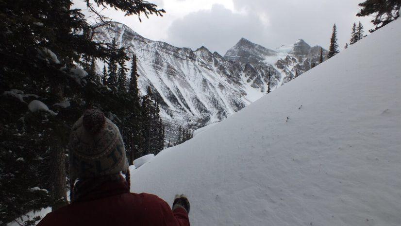 Jean snowshoeing towards Mount Aberdeen in Banff National Park, in Alberta, Canada
