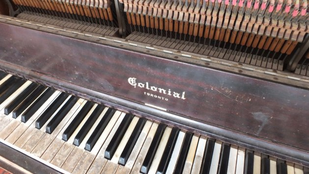 The keyboard of the street piano at the Ward's Island Ferry Terminal in Toronto, Ontario