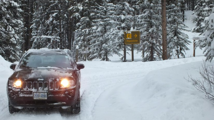 pipestone trail roadway in winter - banff national park 2