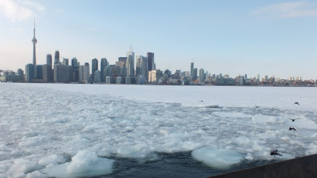 Ice in Toronto Harbour off Ward's Island Ferry Terminal in Toronto, Ontario