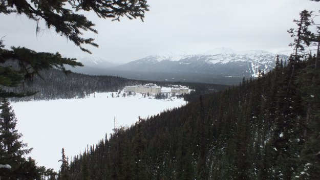 View of Chateau Lake Louise in winter on Lake Louise in Banff National Park, Alberta, Canada