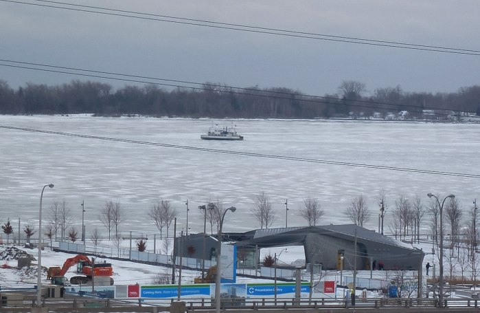 wards island ferry in ice in toronto harbour 2014