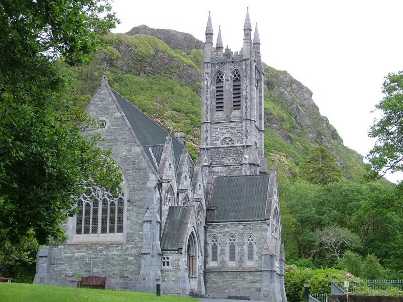 An image of the exterior of the Gothic Memorial Cathedral at Kylemore Abbey in Connemara, County Galway, Ireland. Photography by Frame To Frame - Bob and Jean.
