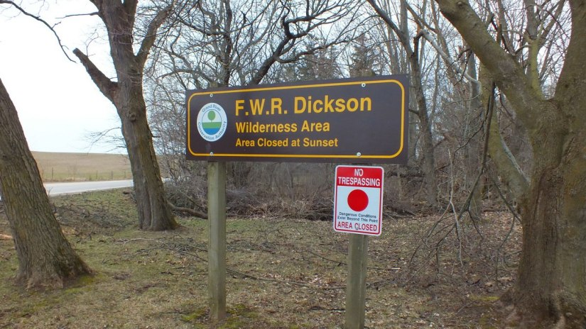 entrance sign at dickson Conservation area_ontario