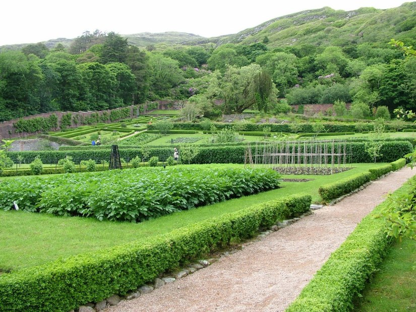 An image of the kitchen garden in the Victorian Walled Garden at Kylemore Abbey in County Galway, Ireland. Photography by Frame To Frame - Bob and Jean.