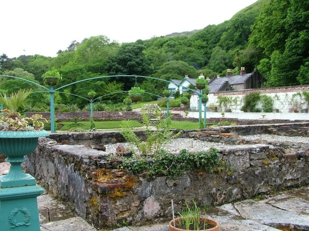 Glasshouse area in the Walled Gardens at Kylemore Abbey in County Galway, Ireland