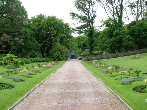 Main walkway in the walled gardens at Kylemore Abbey in County Galway, Ireland.
