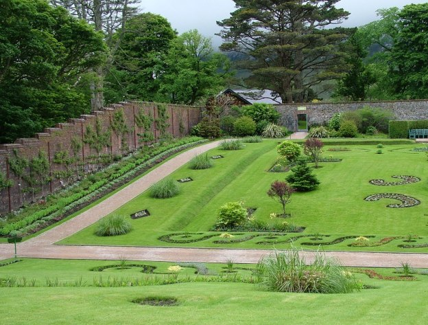 Flower gardens in the Walled Gardens at Kylemore Abbey in County Galway, Ireland.
