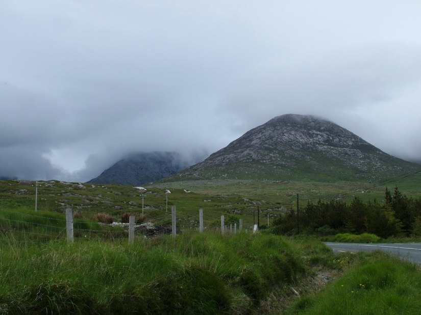 benglenisky mountain along minor road near emlaghdauroe - co galway - ireland