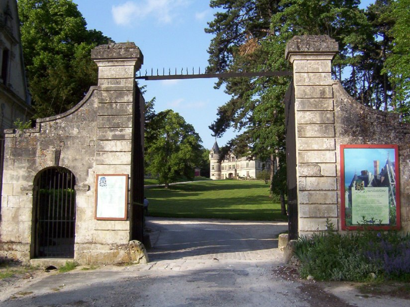 An image of the main entrance gate to Chateau de la Bourdaisiere in the Loire Valley, France.