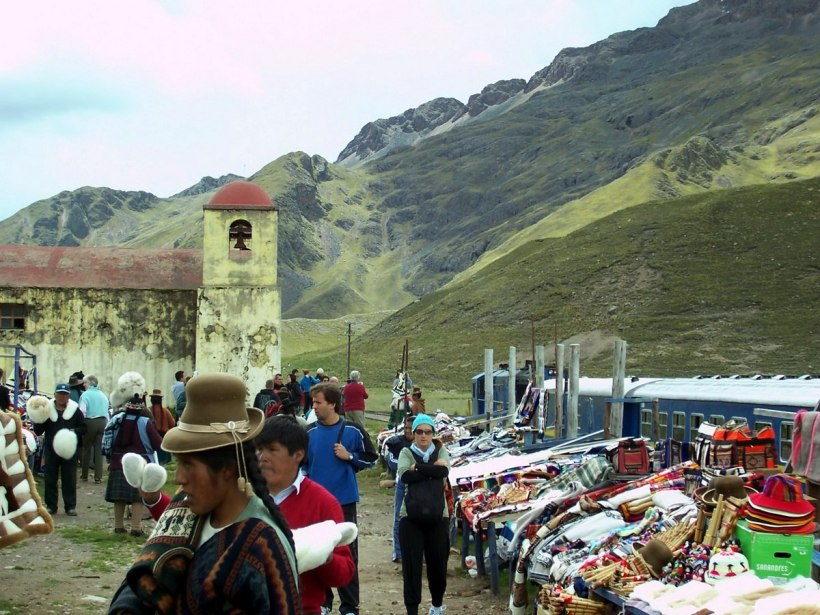 PeruRail Andean Explorer stops at La Raya in Peru, South America