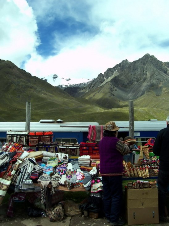 PeruRail Andean Explorer stops at the market La Raya in Peru, South America