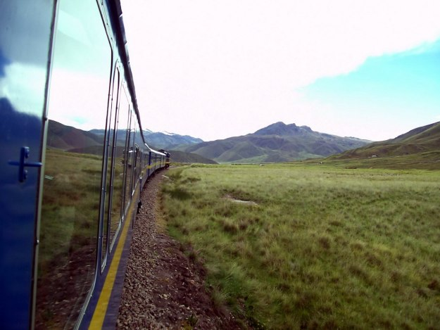 PeruRail Andean Explorer train crossing the altiplano in Peru, South America
