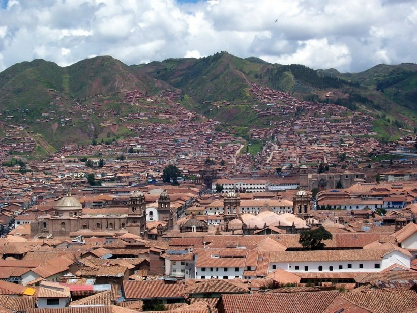 Cuzco rooftops and distant hills, Peru, South America
