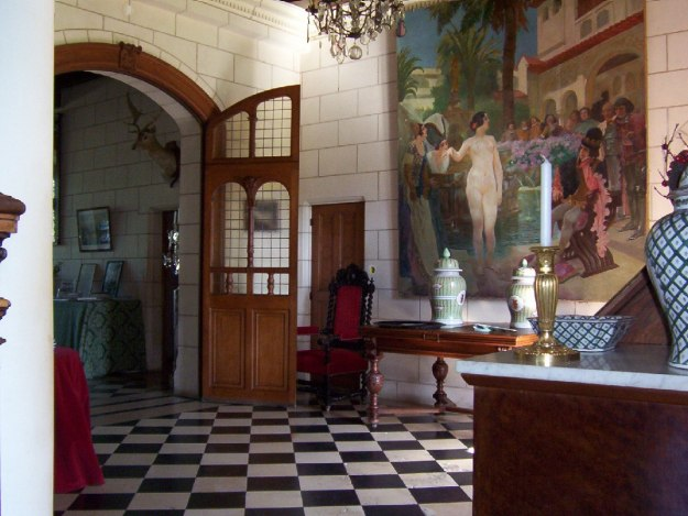 An image of the hallway at Chateau de la Bourdaisiere in the Loire Valley, France.