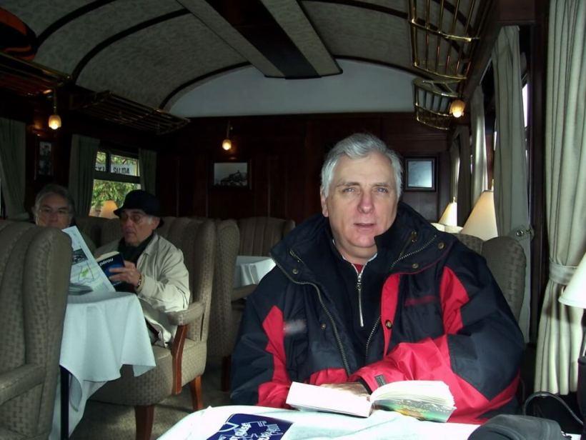 Bob aboard the Peru Rail Andean Explorer in Peru, South America