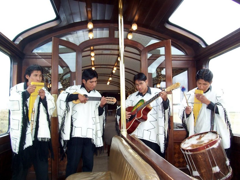 Peruvian band on board the PeruRail Andean Explorer train in Peru, South America