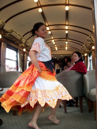 Fashion show aboard the PeruRail Andean Explorer train in Peru, South America
